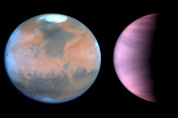 "What's the weather for Mars and Venus? The Hubble telescope has given astronomers a peak. The telescope is serving as an interplanetary weather satellite for studying the climate on Earth's neighboring worlds, Mars and Venus. To the surprise of researchers, Hubble is showing that the Martian climate has changed considerably since the unmanned Viking spacecraft visited the Red Planet in the mid-1970s. The Hubble pictures indicate that the planet is cooler, clearer, and drier than a couple of decades ago. In striking contrast, Hubble's observations of Venus show that the atmosphere continues to recover from an intense bout of sulfuric ""acid rain,"" triggered by the suspected eruption of a volcano in the late 1970s."